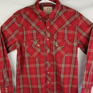 Wrangler Mens Red Plaid Western Pearl Snap